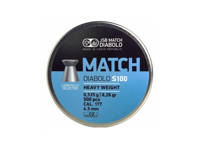 Пульки JSB Match Diabolo S100 heavy 4.51мм, 0.535г (500шт) , 000026-500
