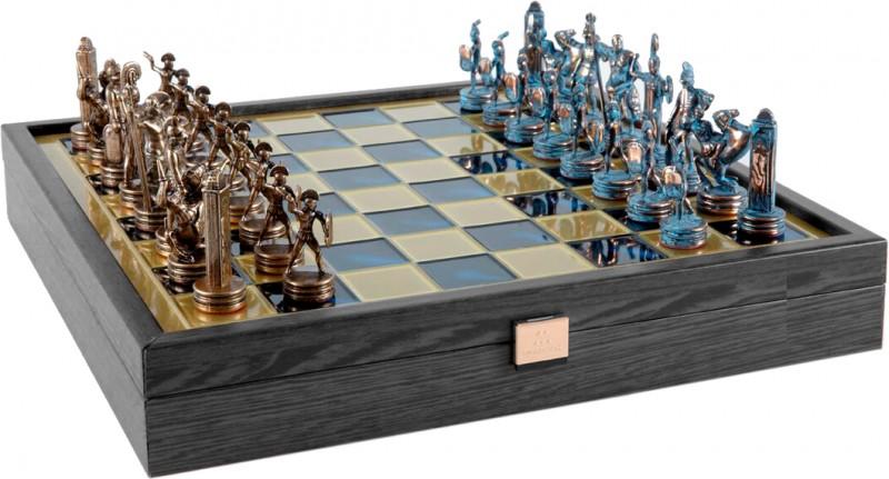 Шахи Manopoulos, Грецька міфологія, латунь, у дерев'яному футлярі, сині, 34х34см, 3 кг